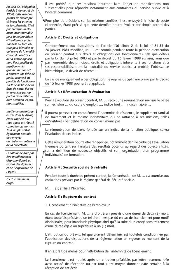Annexe Ii Modele De Cdi Les Agents Contractuels Des