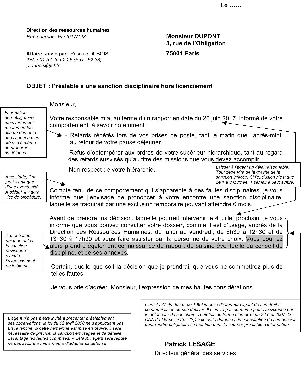 Annexe I Modele Prealable A Une Sanction Disciplinaire Hors
