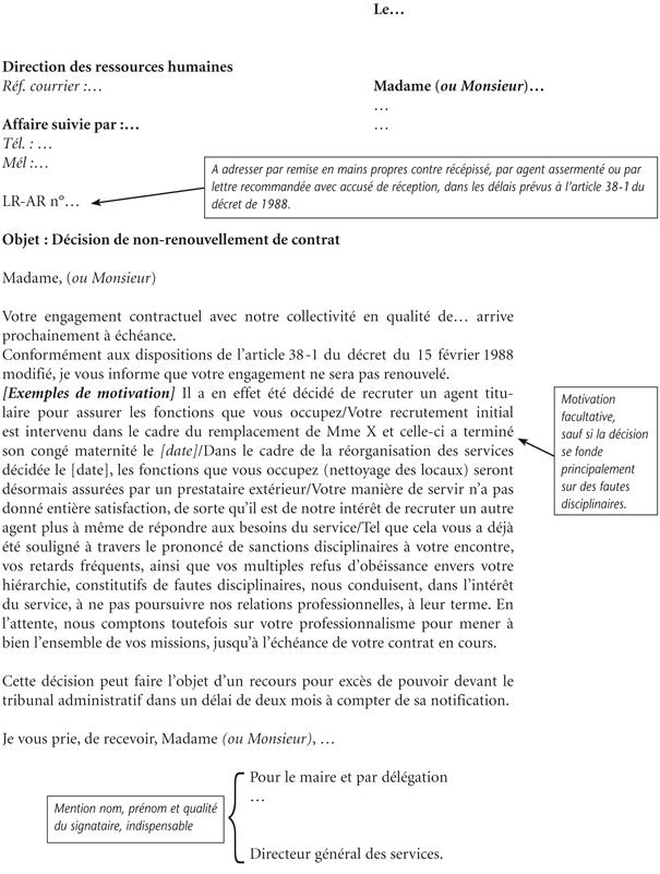 Annexe Iv Modèle De Notification De Non Renouvellement De