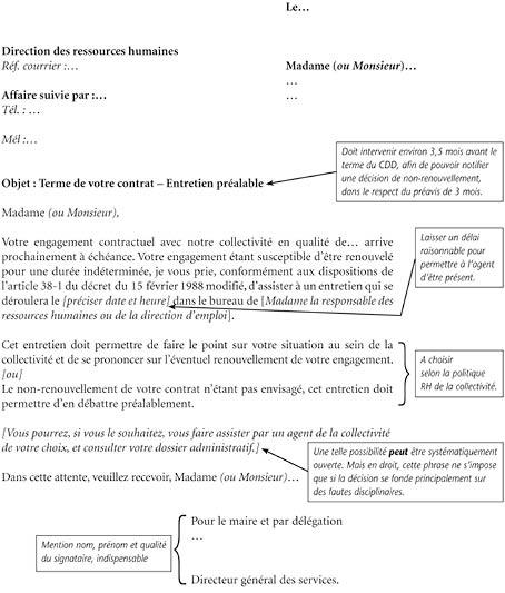 Modele lettre entretien prealable for Contrat type entretien espaces verts