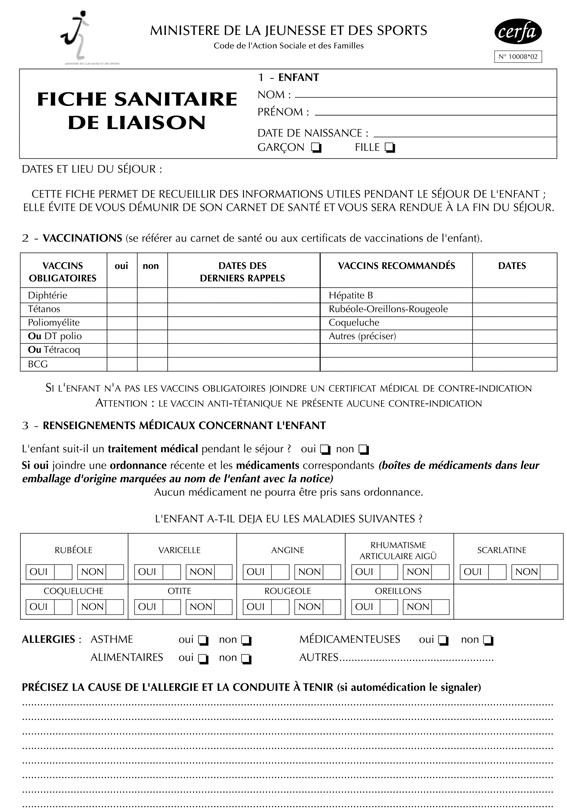 Annexe iv fiche sanitaire de liaison accueil de mineurs - Grille salaire auxiliaire de vie sociale ...